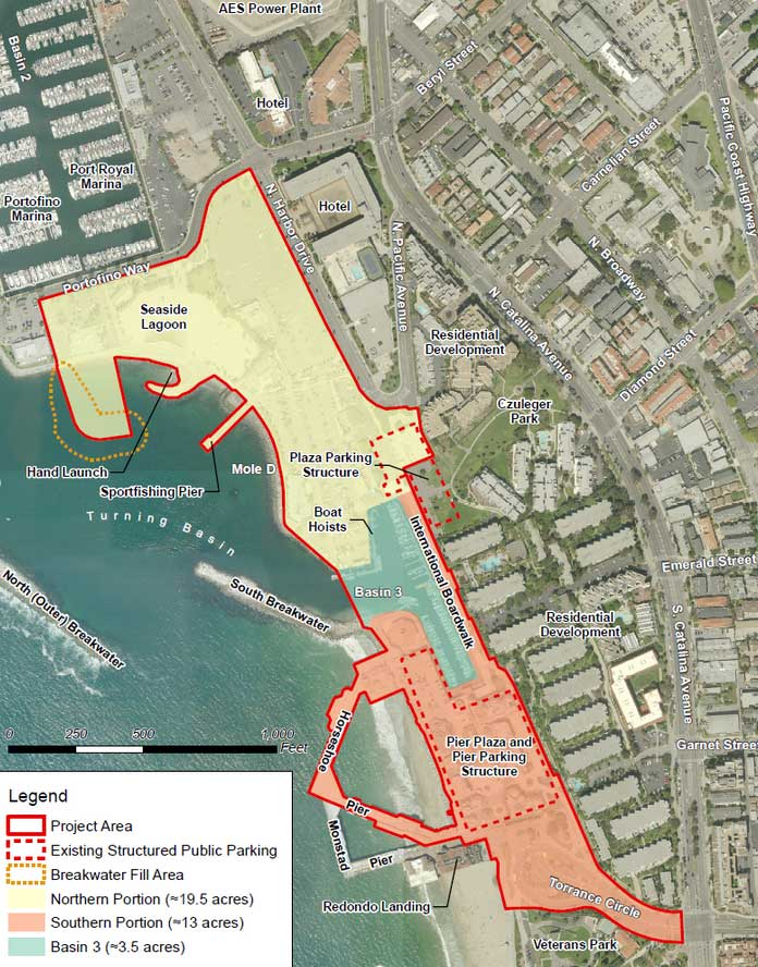 Map of the Redondo Beach Waterfront in King Harbor.